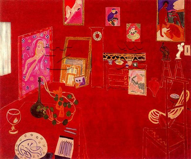 红色画室 油画 油画 客厅 现代 装饰画图片