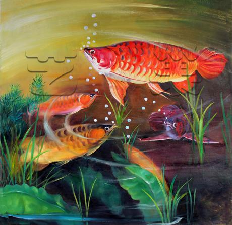 金龙鱼 油画 油画 手绘 手绘油画 原创 装饰画图片