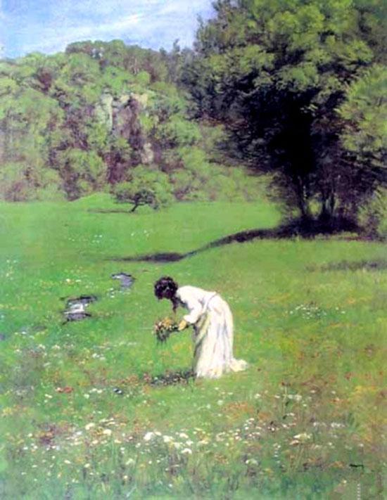 在森林的草地上 油画 欧式油画 欧式风景油画 装饰画