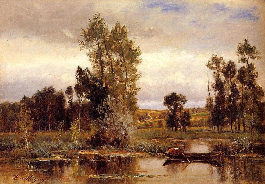 弗朗索瓦池塘里的小船_油画_欧式油画_欧式风景油画_装饰画