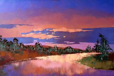 海边的风景 油画 抽象油画 手绘 装饰画