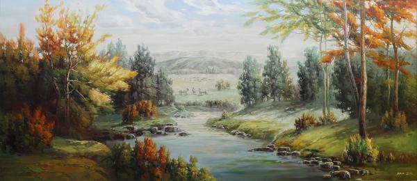 坝上风光 油画 欧式油画 欧式风景油画 装饰画