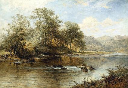 夏季河流 油画 欧式油画 欧式风景油画 装饰画