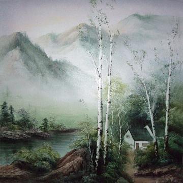 春天的白桦树 油画 油画 客厅 手绘 装饰画
