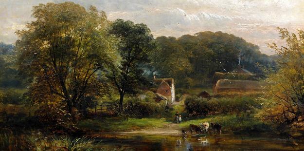欧洲乡村风景 油画 欧式油画 欧式风景油画图片
