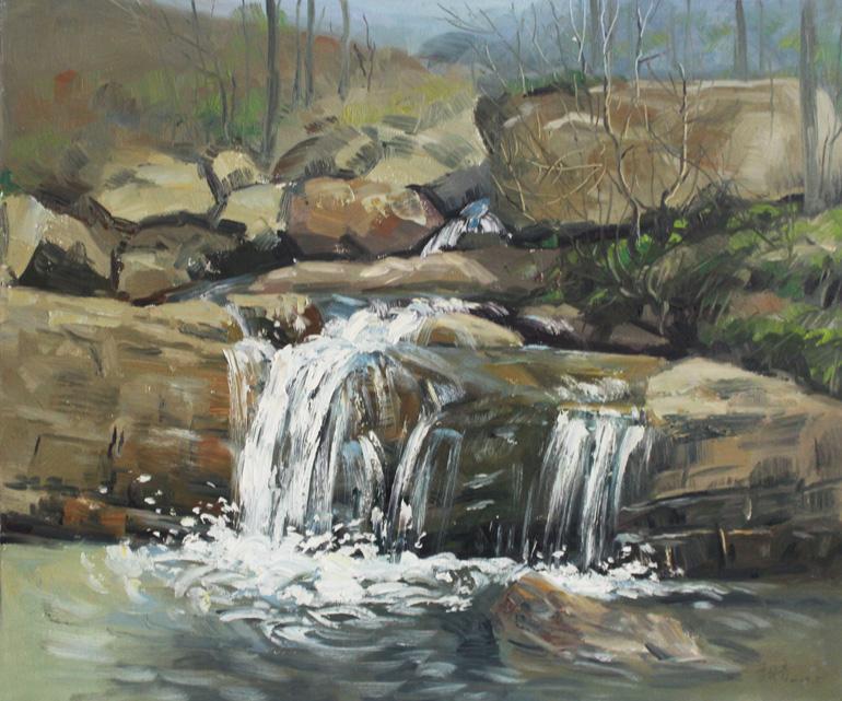 小溪潺潺 油画 油画 风景 风景油画 装饰画