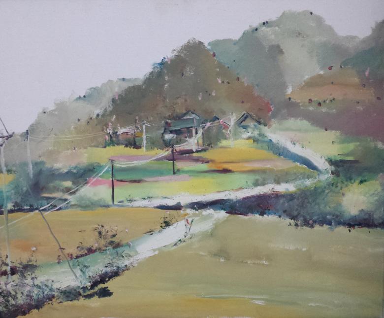 宁静的村庄_油画_风景油画_杨凤_网购油画