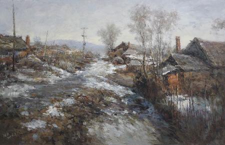 冬季家园系列1_油画_风景油画_张青_高档会所油画