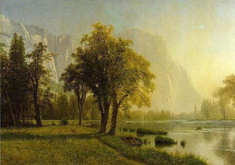 约塞米蒂山谷的景色_油画_欧式油画_欧式风景油画_装饰画