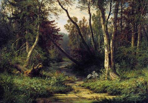 森林景觀與鷺_油畫_油畫_風景_風景油畫.