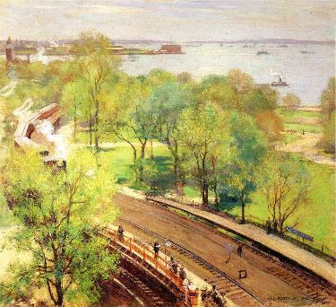 春天的公园_油画_油画_手绘_手绘油画_装饰画