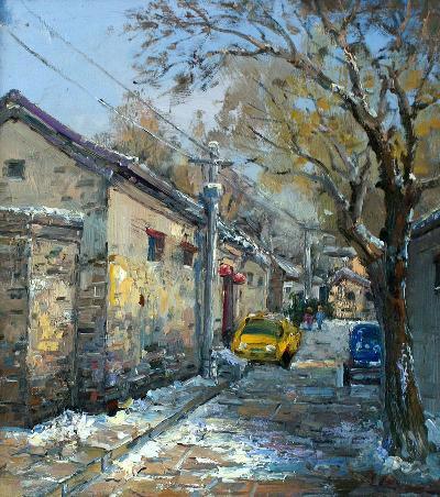 北京胡同001 手绘油画